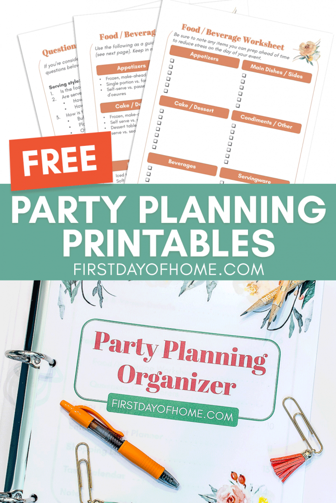 Party planning printables organizer for special events