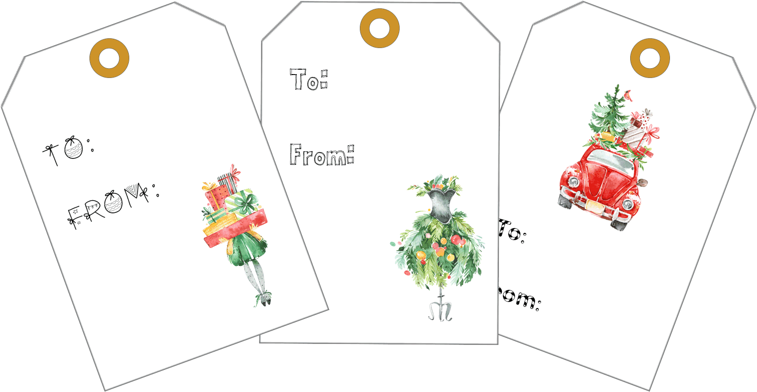 Free printable Christmas gift tags available for download exclusively at First Day of Home blog