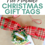 Free printable Christmas gift tags on brown paper package