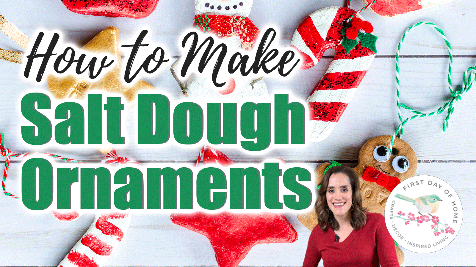 """Video thumbnail with salt dough ornaments and text overlay reading """"How to Make Salt Dough Ornaments"""""""