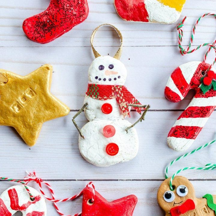 Colorful salt dough ornaments made from simple 3-ingredient salt dough recipe made for kids