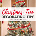 Christmas tree decorating tips for elegant traditional red and gold tree
