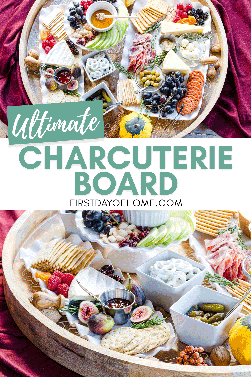 Charcuterie board ideas with meats, cheeses, crackers, olives, preserves, nuts, honey and more