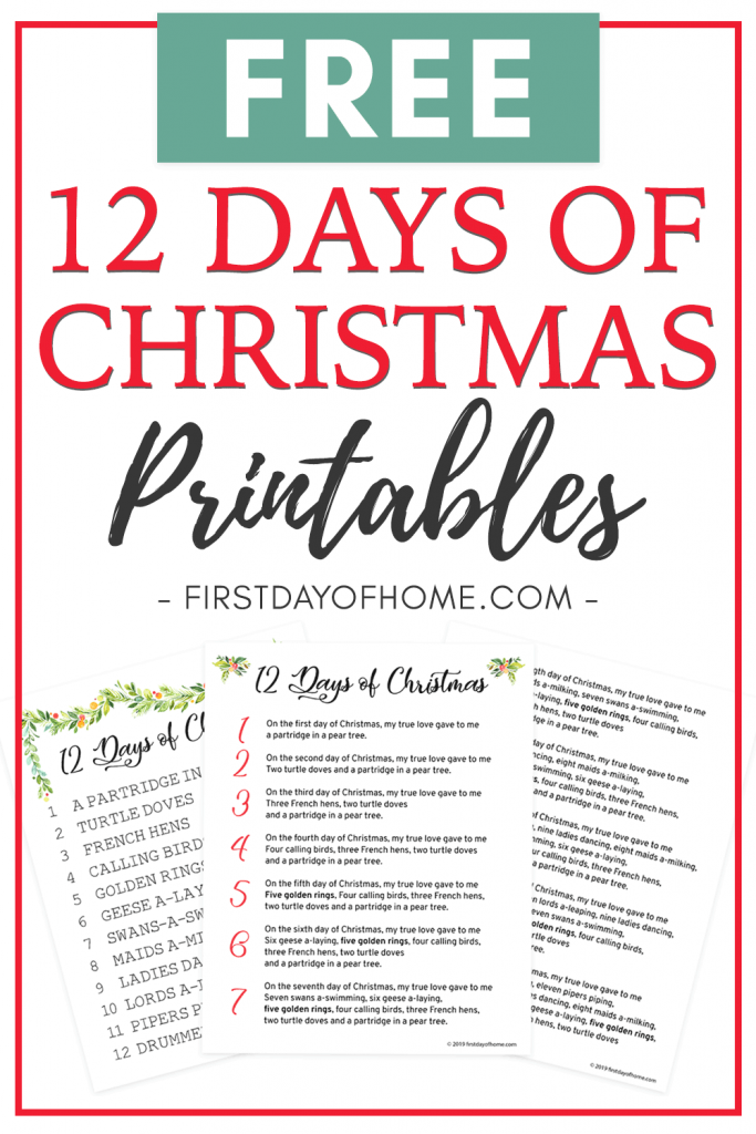 12 days of Christmas lyrics printable