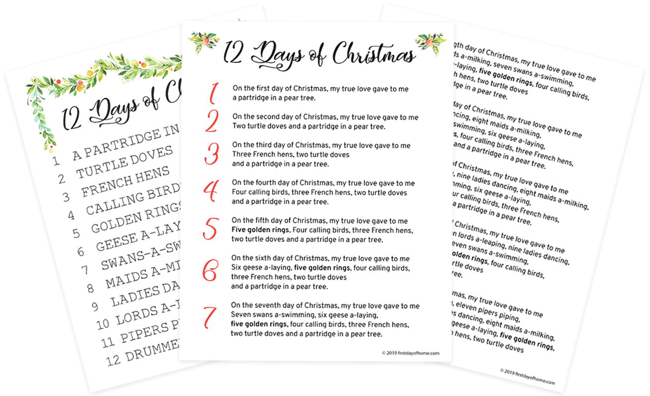 12 Days of Christmas Lyrics Printables