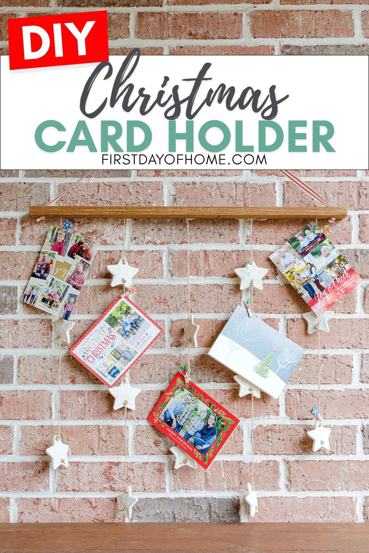 DIY Christmas card holder with farmhouse style salt dough ornament garland
