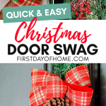 Christmas swag tutorial to make a teardrop swag with red berries, frosted pine and red plaid ribbon