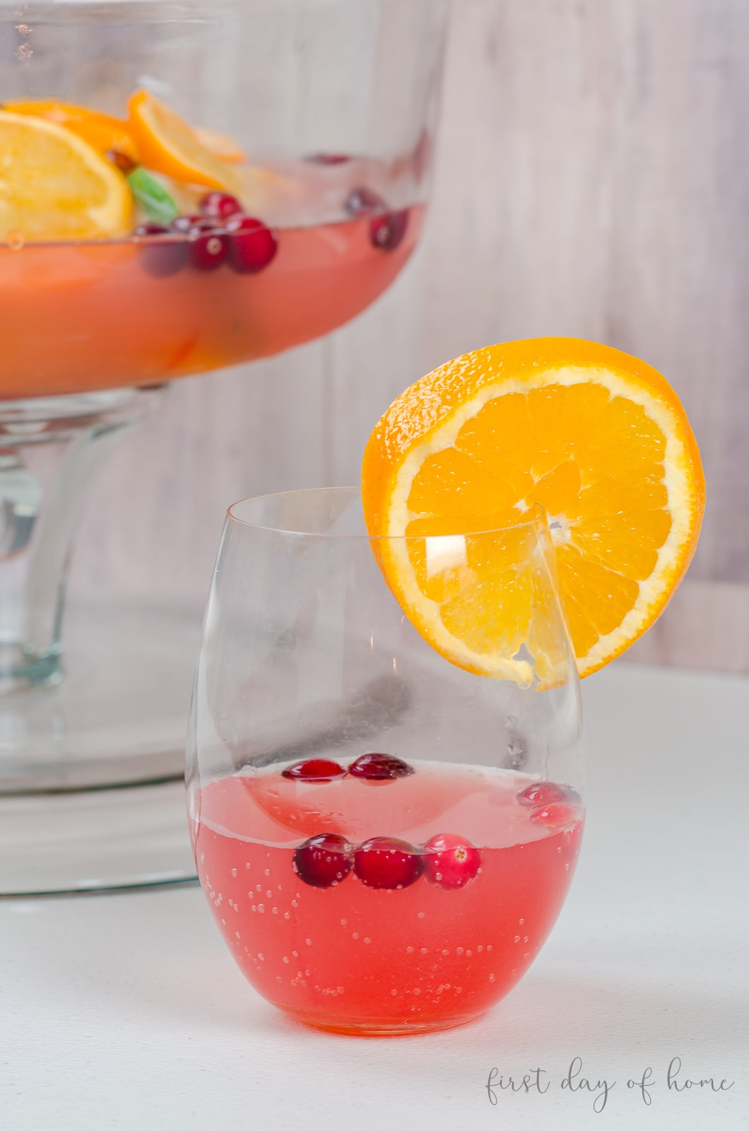 Christmas punch with cranberries, Prosecco, Italian soda and citrus fruit