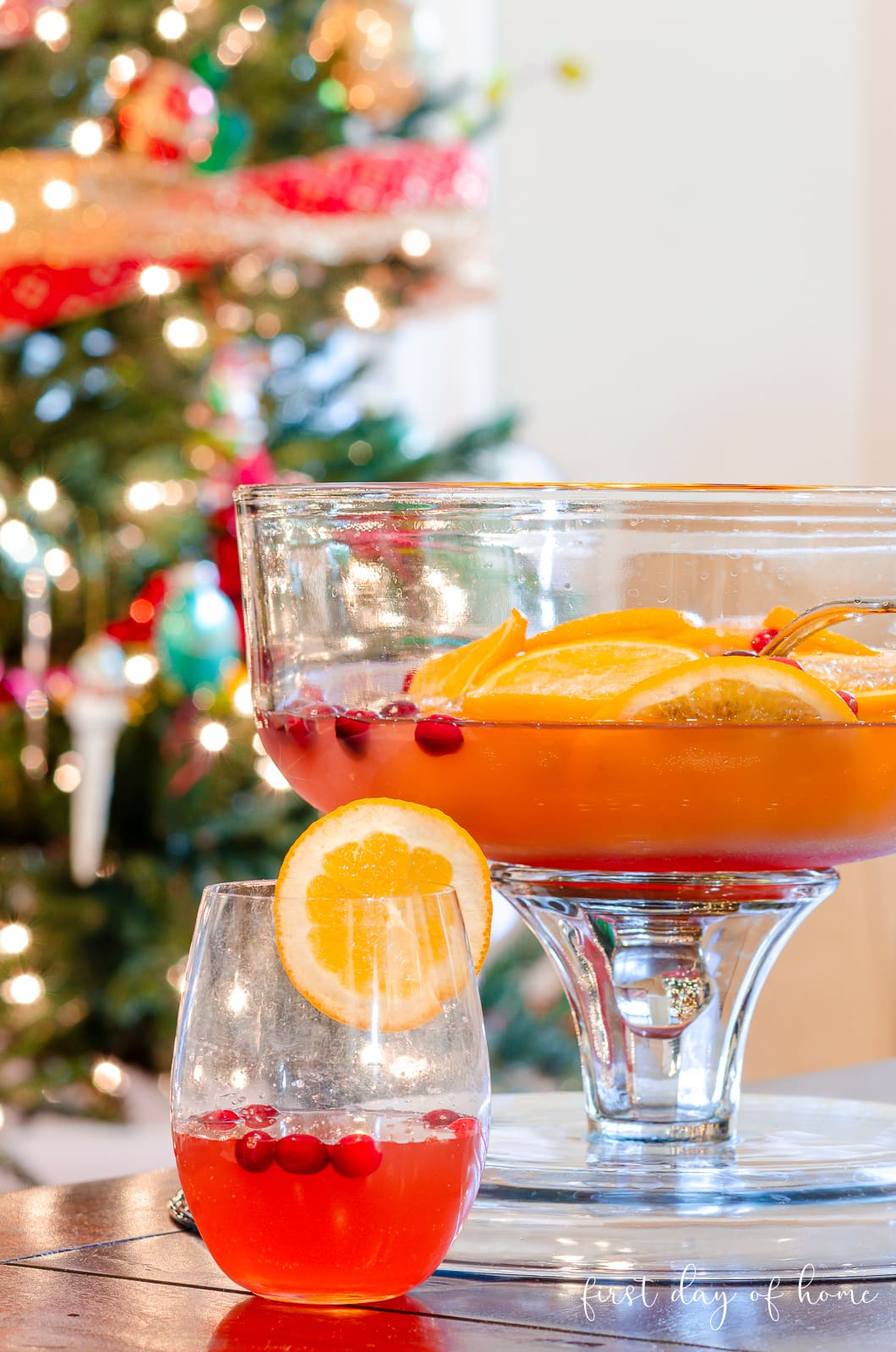 Christmas punch in front of Christmas tree