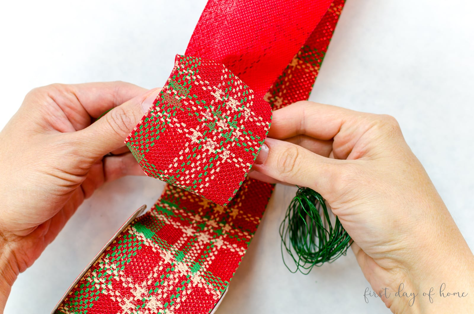 Creating ribbon for Christmas door swag