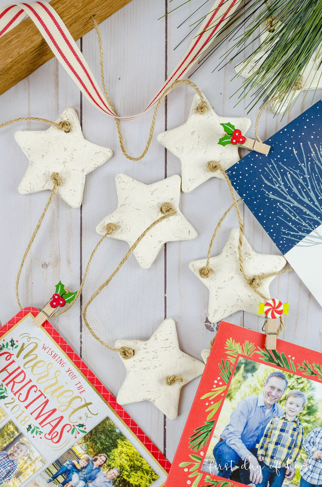 DIY Christmas card holder with jute string, farmhouse ribbon and wood board for hanging