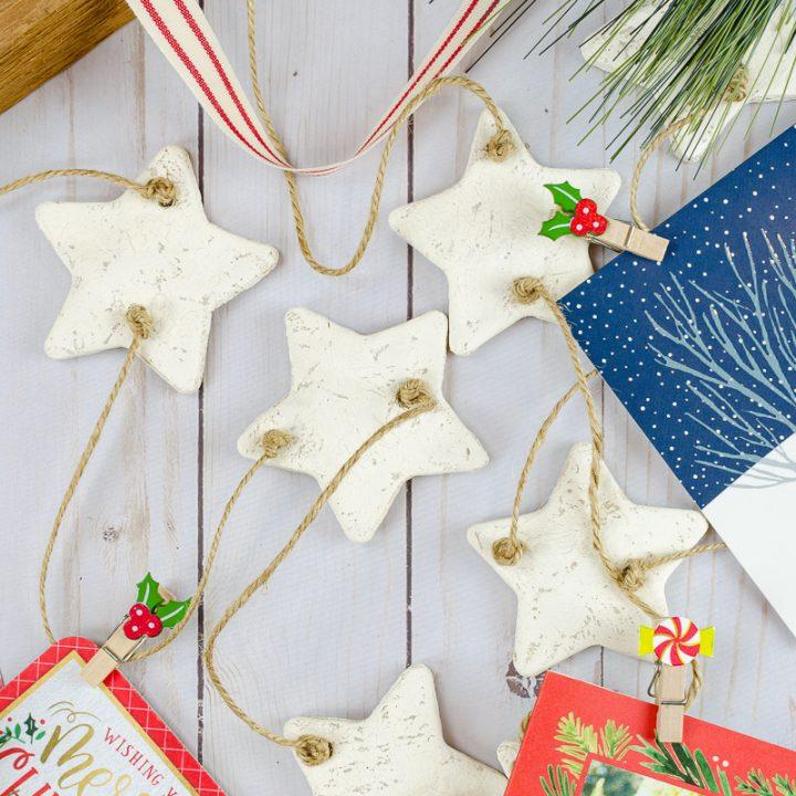 DIY Christmas card wall hanging with salt dough ornaments