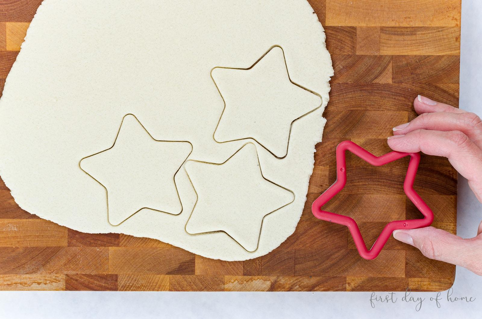 Salt dough ornaments cut with star cookie cutter