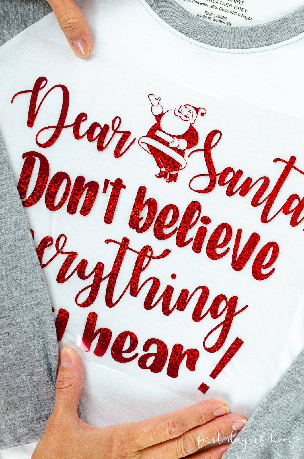 Santa SVG vinyl design on carrier sheet ready to transfer to t-shirt