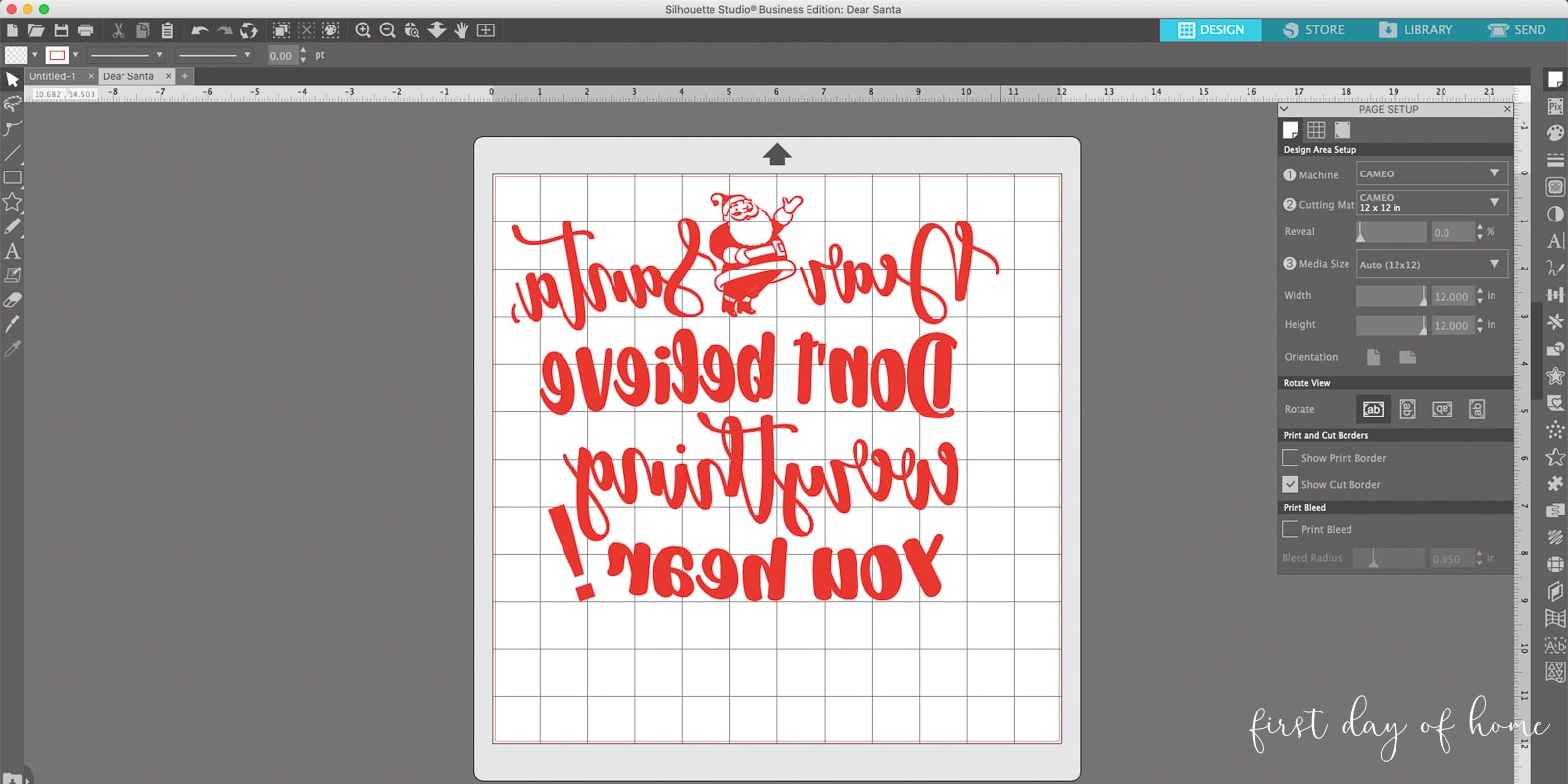 Reversed image of Santa SVG file in Silhouette Studio for Cameo cutting machine