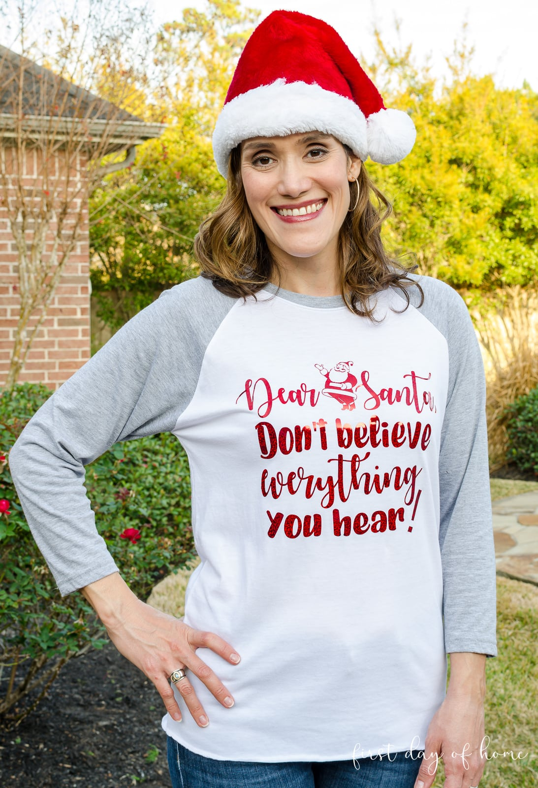 Crissy wearing Santa Claus t-shirt with free Santa SVG made with Silhouette Cameo