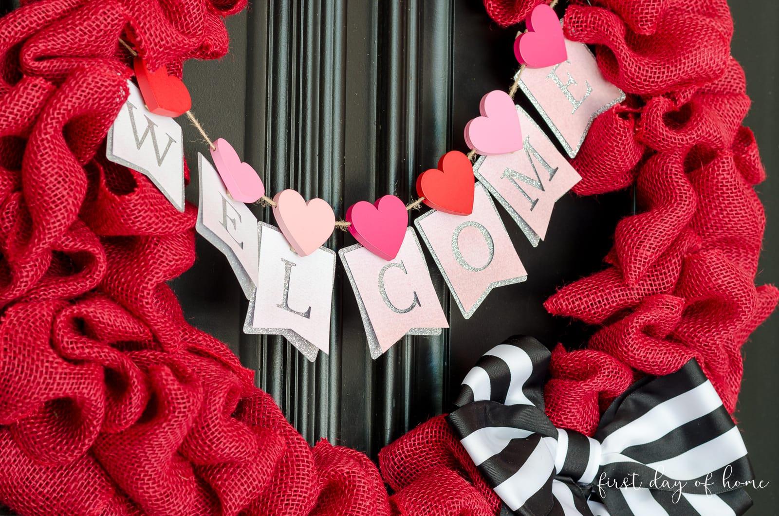 Burlap wreath with banner