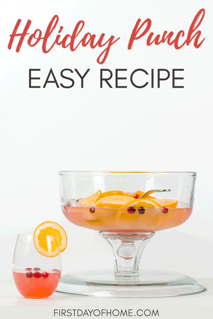 Get this recipe for the best party punch ever, with alcoholic and non alcoholic versions. This is a great option for a Christmas punch, baby shower, birthday party or wedding shower. It's perfect for any holiday and is best for a crowd. #partypunch #christmaspunch #punchrecipes #nonalcoholic #firstdayofhome