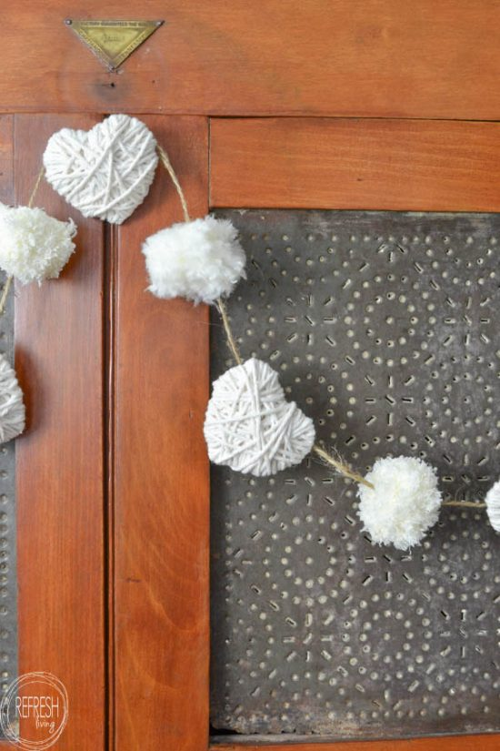 Neutral farmhouse Valentines garland from Refresh Living