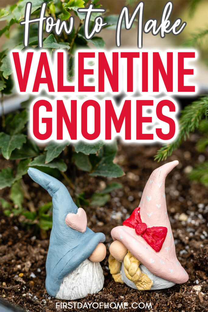 "Two Valentine gnomes kissing in a flower pot with text reading ""How to Make Valentine Gnomes"""