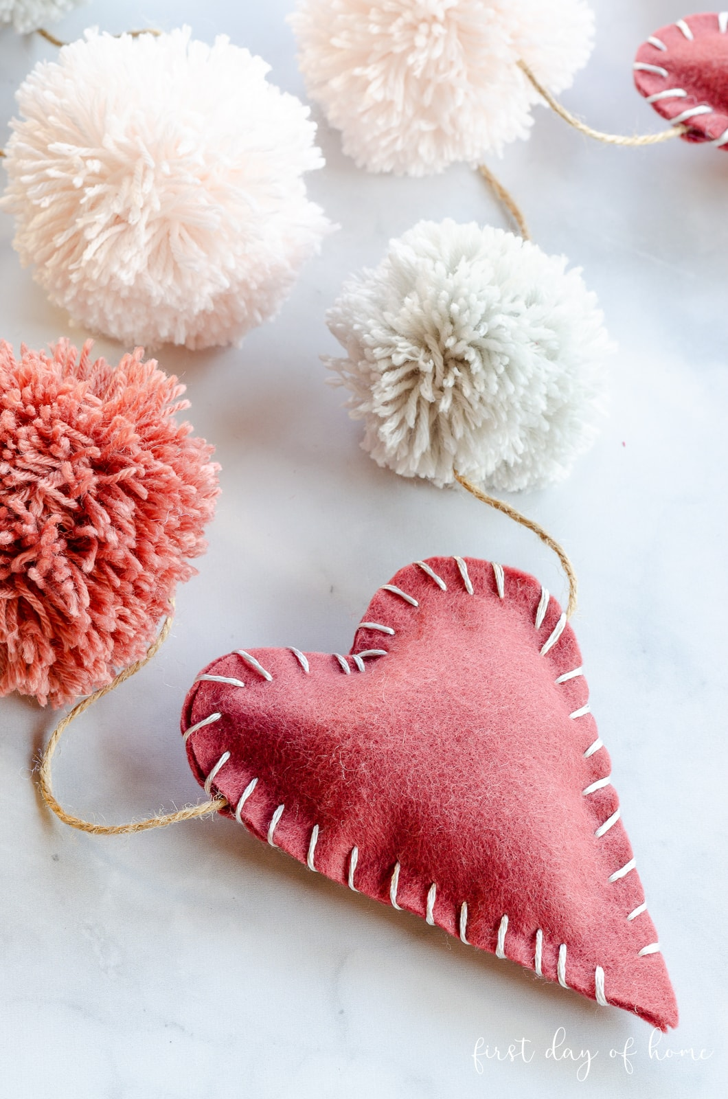 Valentine garland with felt and pom pom garland