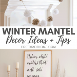 Neutral farmhouse winter mantel with DIY sign and pom pom garland