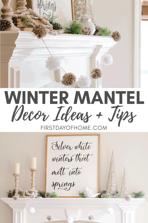 Neutral farmhouse winter mantel with DIY sign and pom pom garland