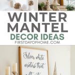 Winter mantel decorated with pom pom garland and DIY farmhouse sign.