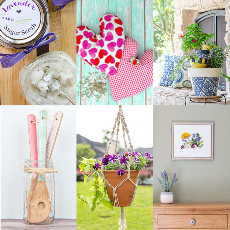 Collage of handmade gifts from First Day of Home blog, including lavender sugar scrub, heart shaped heating pads, decoupage flower pots, decoupage wooden spoons, macrame plant hanger and flower pressed art