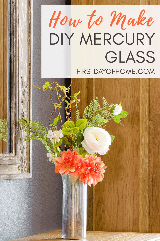 DIY mercury glass with floral arrangement