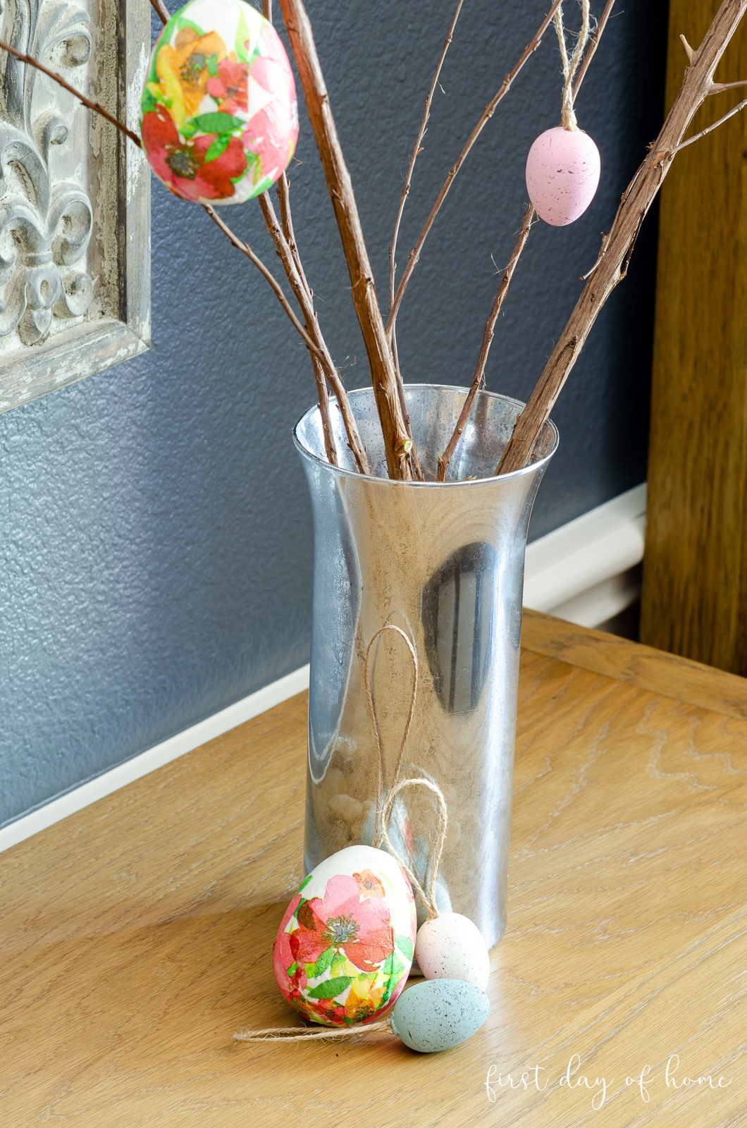 Faux mercury glass vase with Easter tree decor