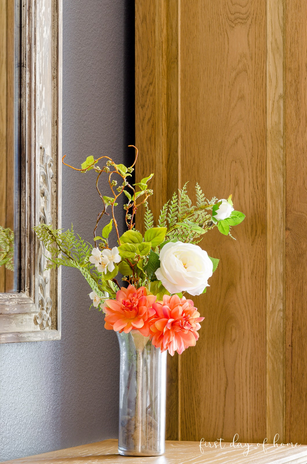 DIY mercury glass vase with flowers