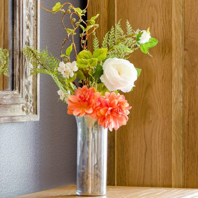 DIY mercury glass vase with faux flowers