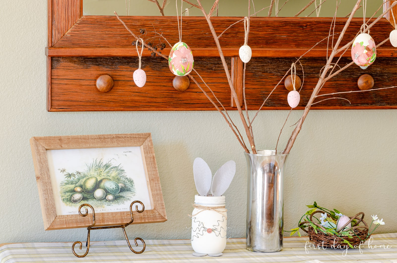 DIY Mercury glass vase with Easter tree and spring decor on buffet table