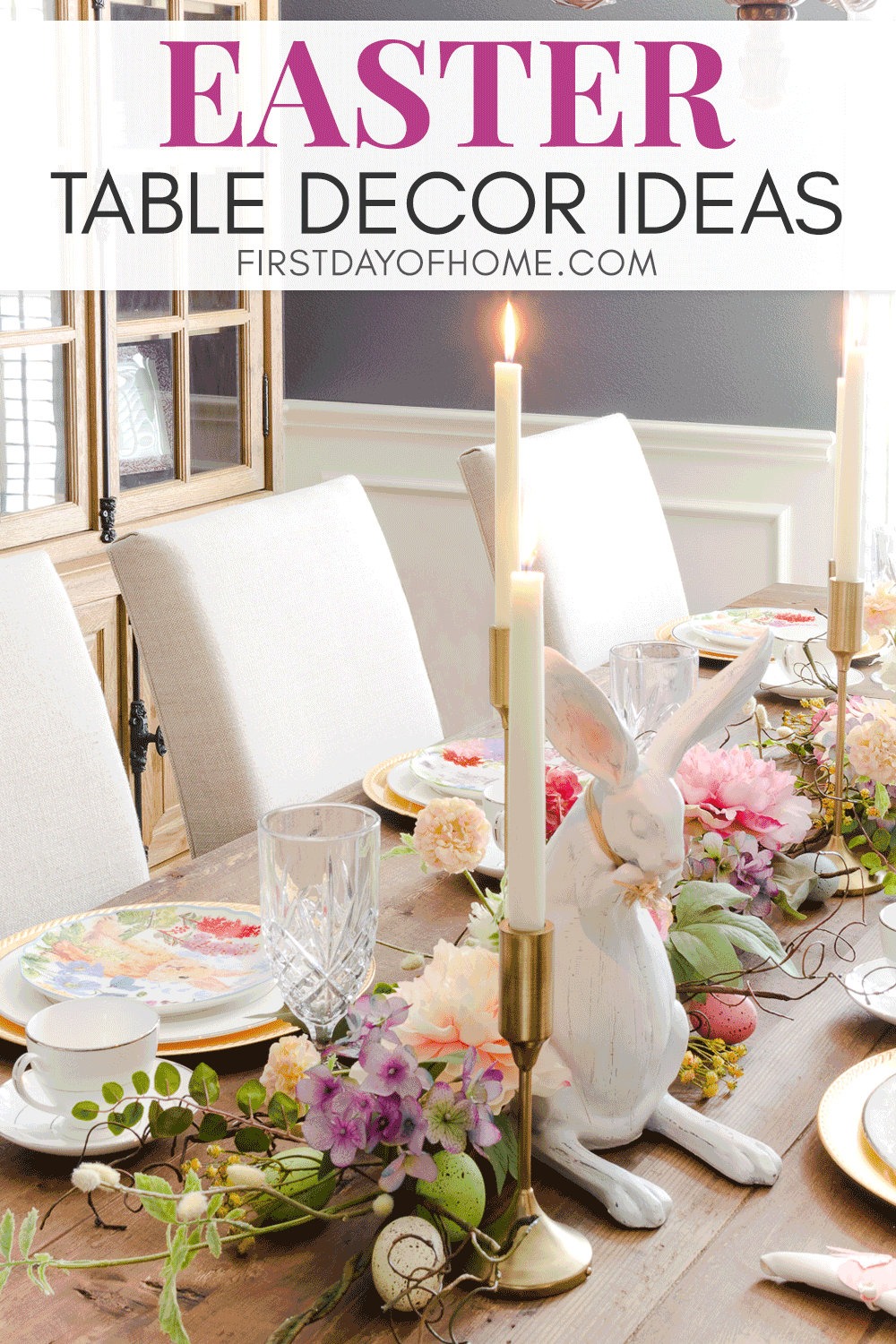 Easter table decorations with floral garland, Easter bunny figurines, taper candles and DIY napkin rings