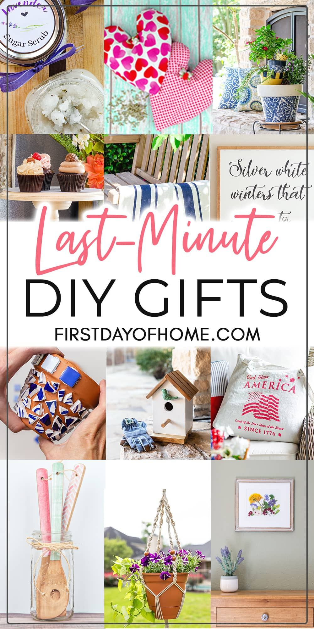 """Images of various craft projects and DIY projects with text overlay reading """"Last-Minute DIY Gifts"""""""