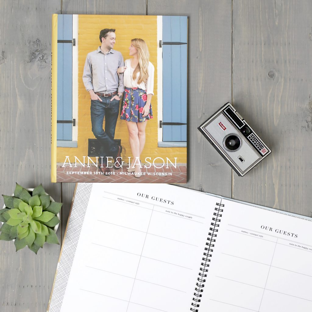 Basic Typography wedding guest book with photo cover