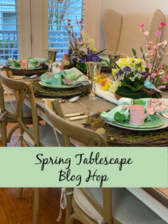 Spring tablescape blog hop graphic with image of spring table decor