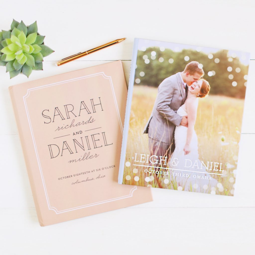 Wedding guest book with bride and groom on cover and traditional peach cover