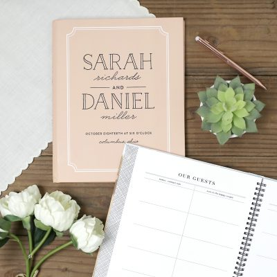 Type Frame personalized wedding guest book by Basic Invite
