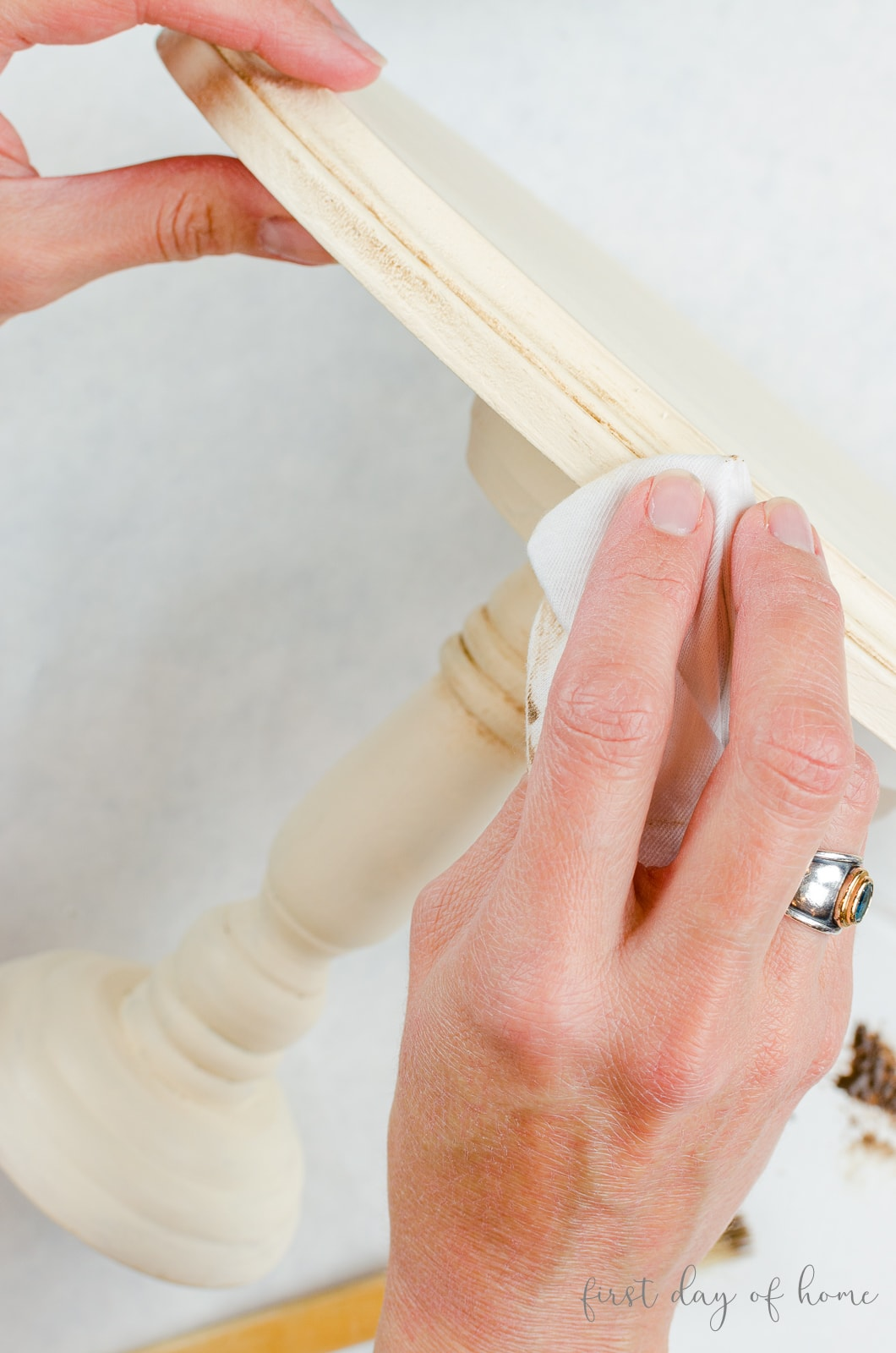 Buffing wax on DIY wooden cake stand