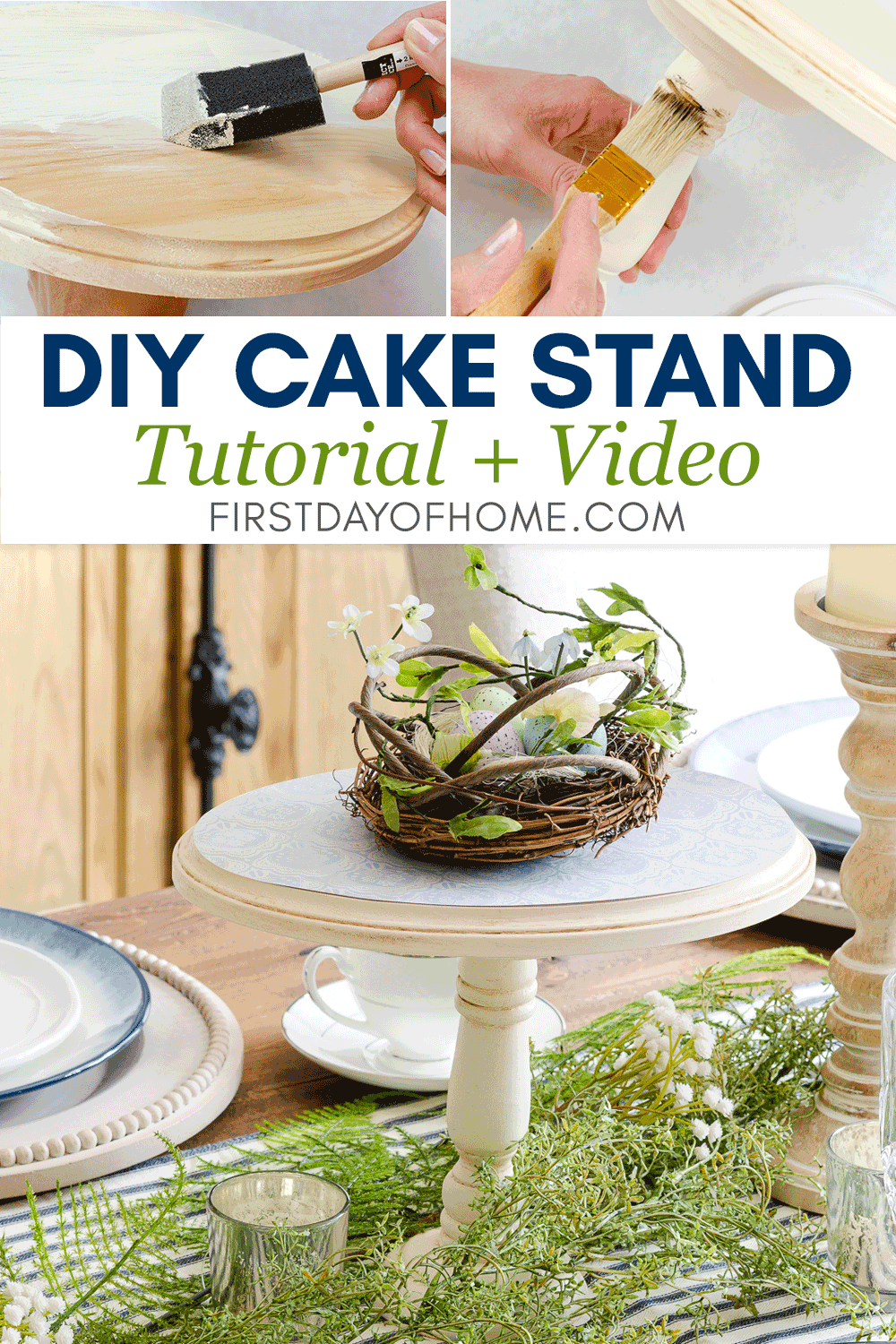 Steps to make rustic wooden cake stand with antiquing effect and chalk paint