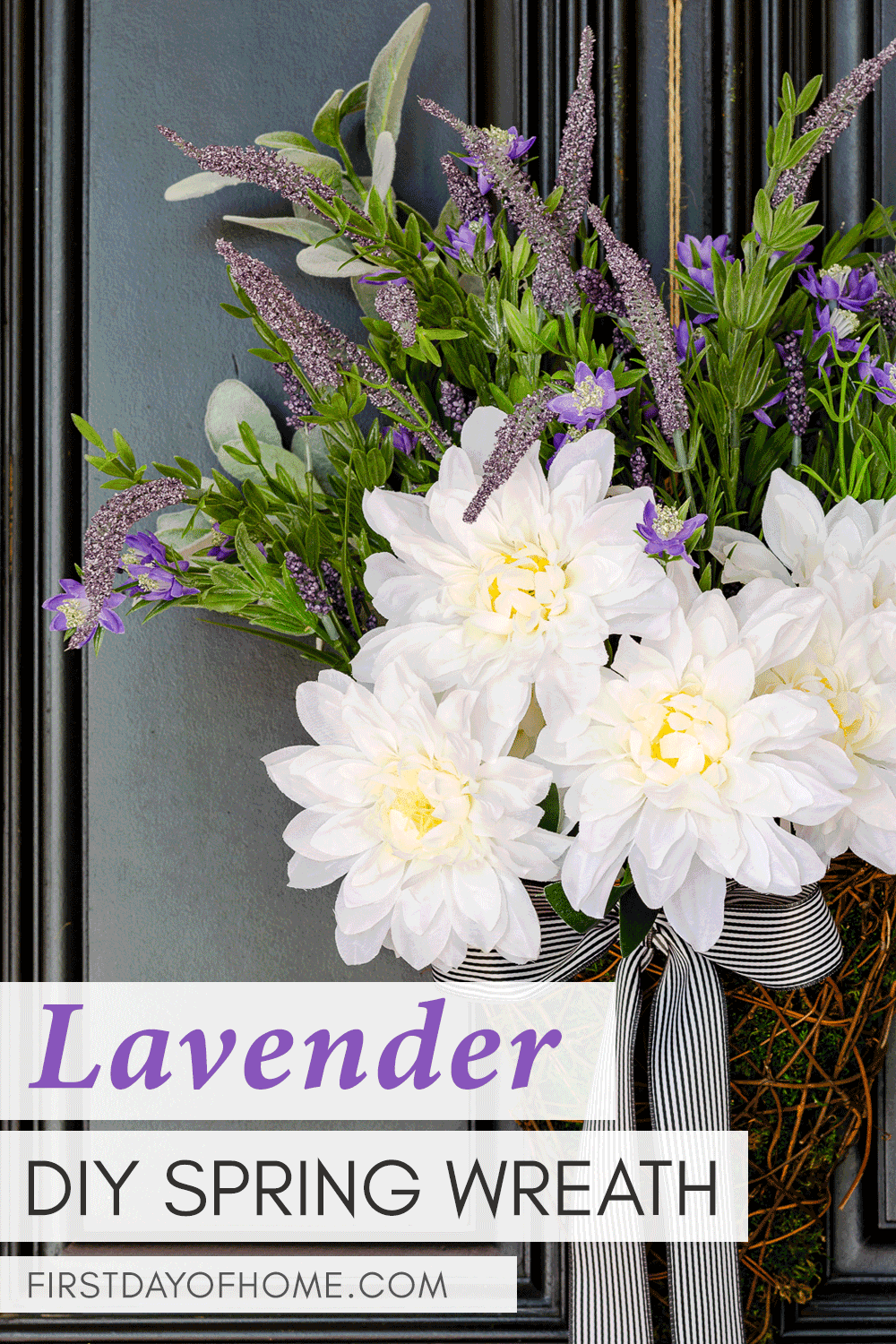 Lavender wreath with dahlias and lamb's ear in rattan basket with farmhouse bow