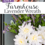 Farmhouse style lavender basket wreath on front door