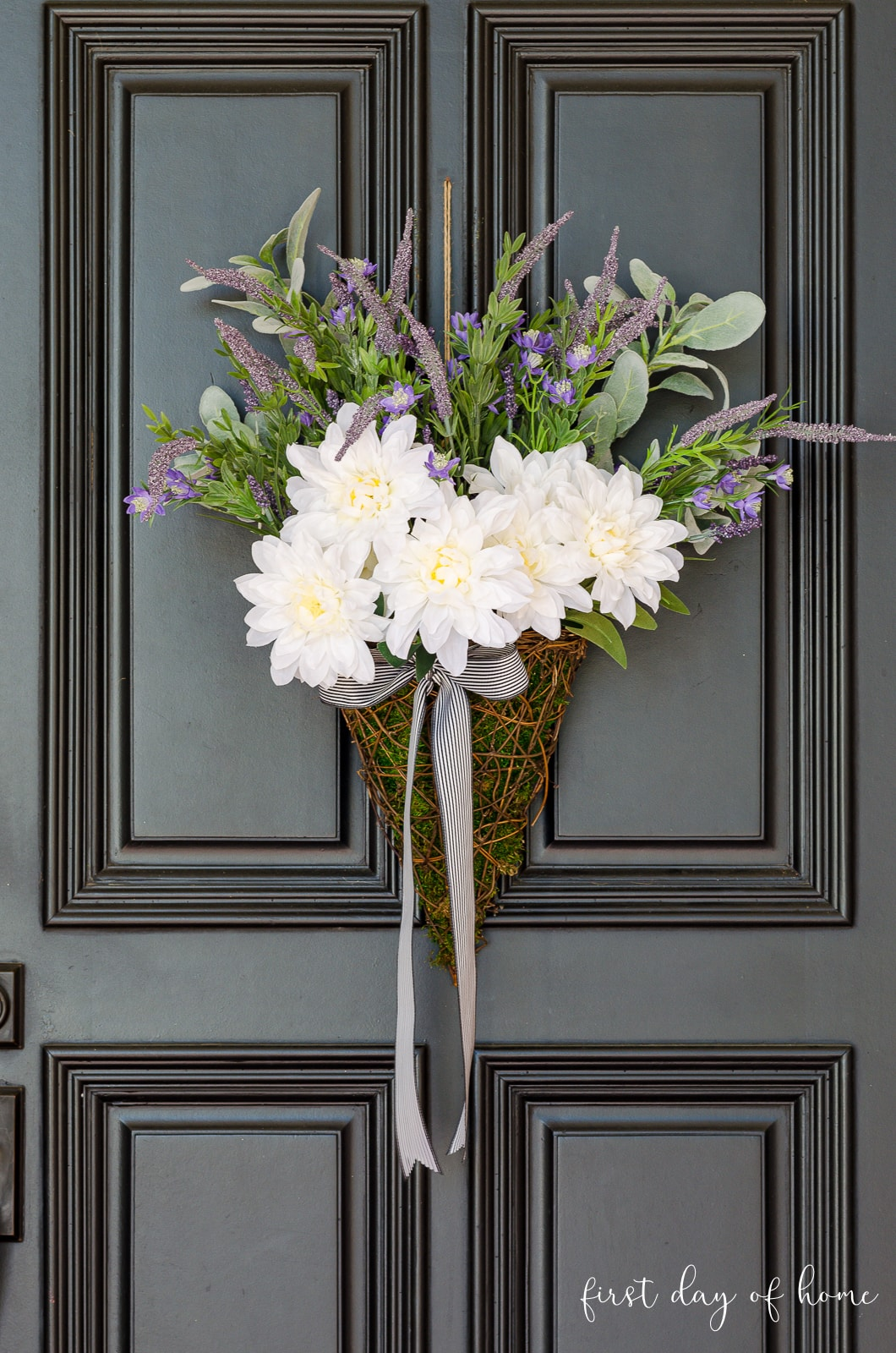 Basket wreath with lavender, dahlias and lamb's ear for spring front door decor