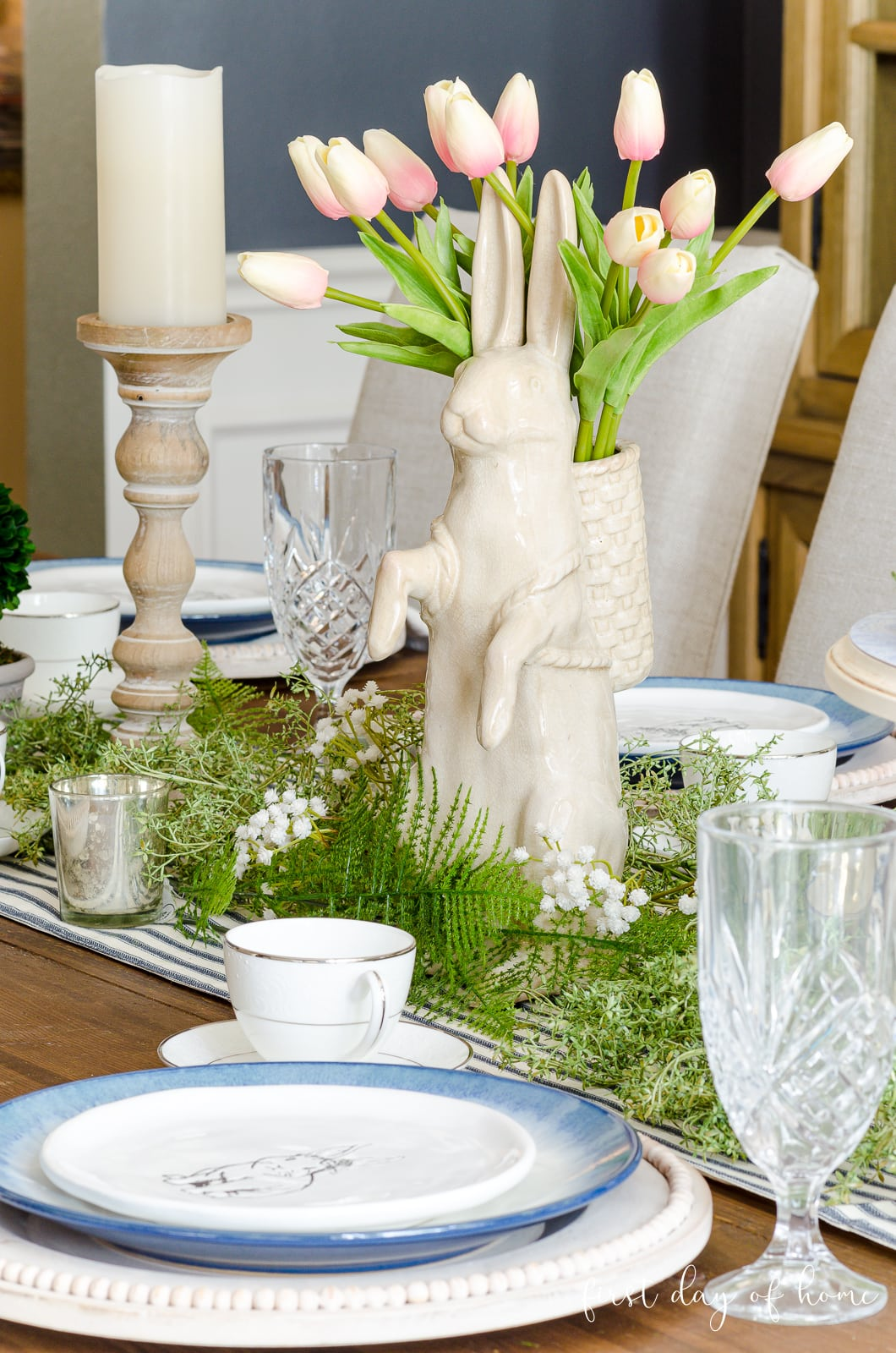 Bunny figuring with tulips on spring tablescape
