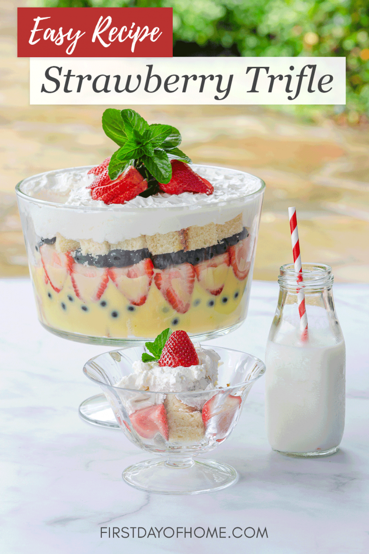 Learn how to make this rich and creamy strawberry trifle with homemade pudding (optional), pound cake and fresh strawberries. This is a great dessert to feed a crowd for showers, parties and special occasions. #strawberrytrifle #strawberrydessert #trifledessert #partyfood #firstdayofhome