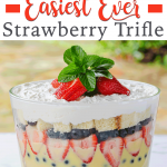 Easiest ever strawberry trifle dessert with layers of pound cake, strawberry and whipped cream