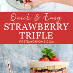 Strawberry trifle with pound cake, fresh berries, homemade pudding and whipped cream