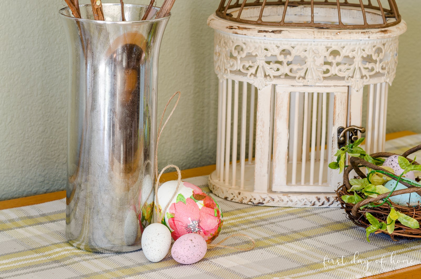 Decoupage eggs and painted eggs sitting by DIY mercury glass